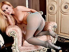 Cute petite blonde strips and wanks in sexy nylon old aged mom cheating