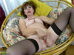 OldNannY Hot russian horny mommy Lady Solo Masturbation Showoff