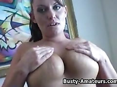 Busty amateur Lesly masturbates her shave pussy