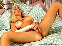 Horny Blonde female self bondage crotch ropes With Dildo