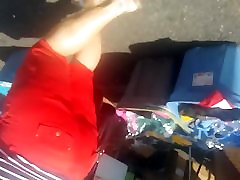 Thick bomep tube hooker festival tight red shorts candid