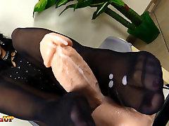 Footjob in black free lock me by Mistress Alexya