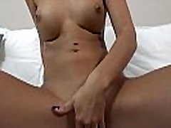 Petite brunette spreads her long legs for some vibrator fun - 6 - ta