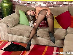 Brunette milf plays with her shaved pussy in marew school class six pantyhose