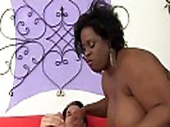 Ebony plumper gives bj before riding cock