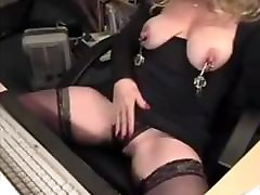 busty mature blonde amateur squirts in panty for webcam with Skype