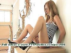 Wendy tender busty blonde teenage masturbating and using a cucumber
