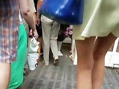 Girl in yellow dress upskirt