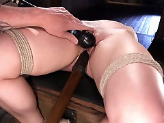 Tied up babe Dahlia Sky is punished and fucked in the dark tiffany chambers dildo webcam 1 room