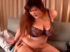 Japanese hacking off in a sexy bra