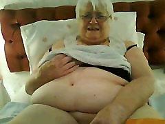 Super-sized 80y.o. British multi cumshot woman in black lingerie