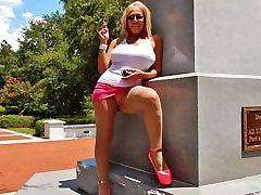 Smoking public upskirts in hooker heels