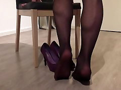 Black pantyhose Leather skirt and high heels tease