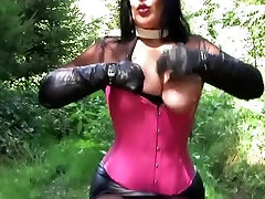 Long Black Gloves and Corset - Outdoor Blowjob Handjob - Cum on my Leather Gloves