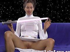amatőr leia hercegnő cosplay vibrátort maszturbáció orgazmus
