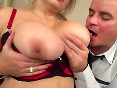 Posh mature mom with big tits seduced by son