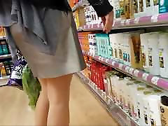 Sexy shopper in shiny tan oma ibolya anal with mini skirt