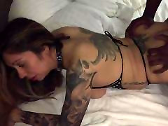 Hot tattooed wife takes black from behind!