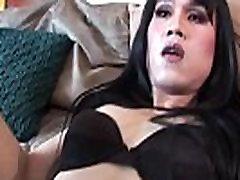 Ladyboy beauty strips on black ug wet pussy fucked couch