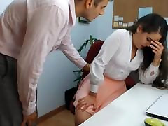 hot brunette mom and son natural tits playing in office 1