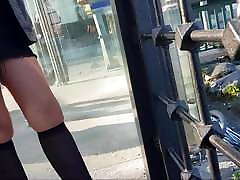 Sexy slut in black opaque knee high stockings