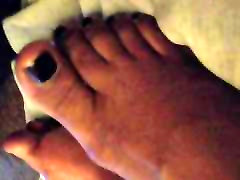 Cum Shot On Dark Purple Ebony Toes