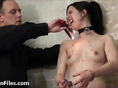 Sexy slave Honesty Cabelleros electro bdsm and hot wax punis