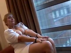 Busty Mature In Short Dress And Pantyhose