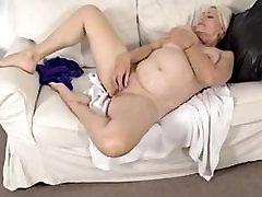 Mature blonde masturbating