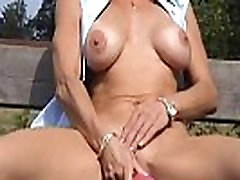 Cougar and her hujan sexxx toys in public parc