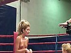 Oiledup lesbo babes black shemale cummming in boxing ring