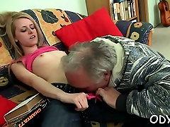 Smoking asian xxx fucking gives grandpa a oral stimulation and rides