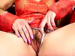 Hairy mom and son work up masturbating
