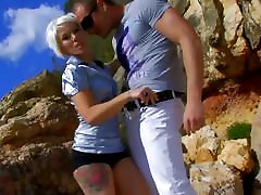 Blonde wants and gets sex on beach