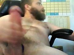 Hairy bearded guy big dick big cum shot