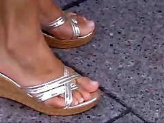 Candid mature asian in wedge sandals