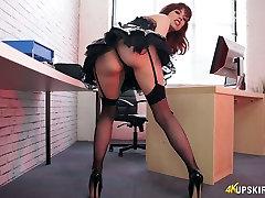 Posh chick wearing skirt dress Eva shows off super sexy upskirt