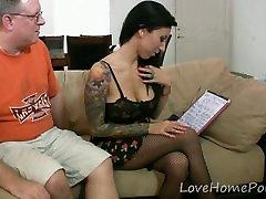 Tattooed babe in stockings enjoys her dildo