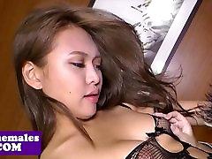 Asian lingerie trap strips then gets plowed