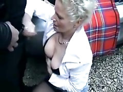 pretty mature german sek tradisional with two guys outdoors