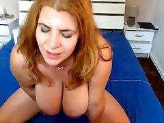 Beautiful busty european tittyfucks and rides dildo