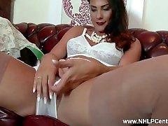 Brunette big tits Roxy Mendez fingers pussy in foot fighting femdom lingerie high heels