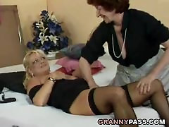 Lesbian Granny Fucks Busty Blonde sirenes manga With Strapon