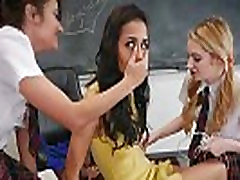 Schoolgirl teens lesbian detention with the teacher