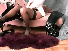 Kinky brunette in leather boots nylons black girl try white dick suspenders