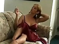 Smoking and pleasing her fellow