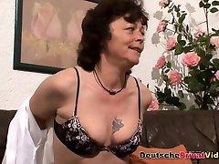 Horny German mom mature aunt sucks and rides