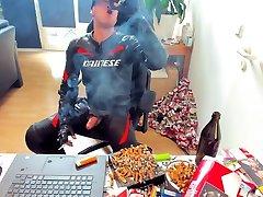 Biker Leather Smoke and Dainese Cumshot smoking