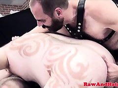 Chubby leather bears bare fucking in trio