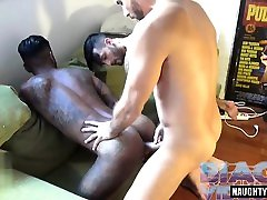 Latin gay threesome and cumshot